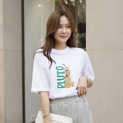 CLICK - 'PLUTO' Printed Cotton T-Shirt