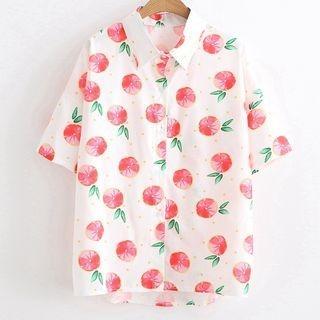 Angel Love - Short-Sleeve Fruit Print Shirt