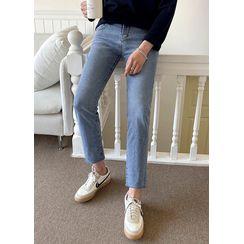 JOGUNSHOP(ジョグンショップ) - Hidden Band-Waist Straight-Cut Jeans
