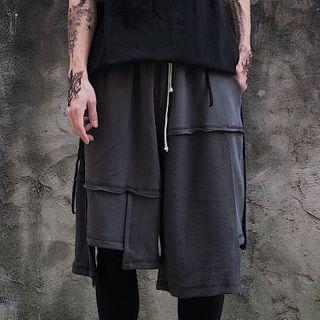 Porstina - Asymmetric Panel Straight-Cut Shorts