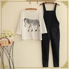 布衣天使 - 套裝: 印花 T 恤 + 背帶長褲
