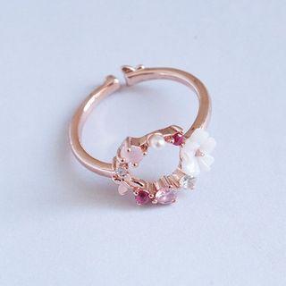 True Glam - Rhinestone  Flower Open Ring