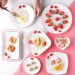 Heysoo - 草莓印花陶瓷碟 (多款设计)