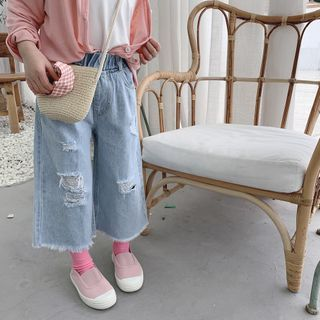 Cyrene - Kids Distressed Cropped Wide-Leg Jeans