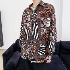 VEAZ - Long-Sleeve Print Loose-Fit Shirt