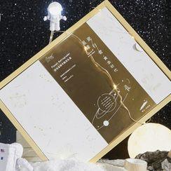 JIMO - Set: Printed Medium Notebook + Masking Tape + USB Astronaut Night Lamp