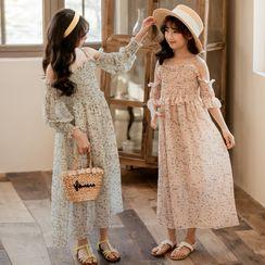 Cynanne - Kids Floral Off-Shoulder Long-Sleeve A-Line Dress