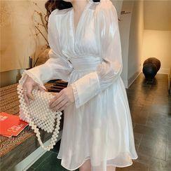 Yuxi - Long-Sleeve V-Neck Mini A-Line Dress
