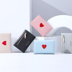 Regalia - Heart Embroidered Faux Leather Wallet