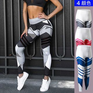 FoxFlair - 印花彈力緊身訓練長褲