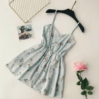 Lucuna - Spaghetti Strap Floral Print A-Line Dress
