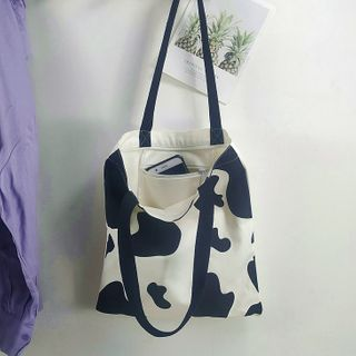 Woodword - Cow Print Canvas Tote Bag