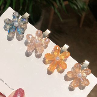 Coolgirl - 仿珍珠人造水晶花朵发夹