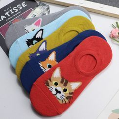 Rivara - Set Of 5 Pairs: Cat Print No Show Socks