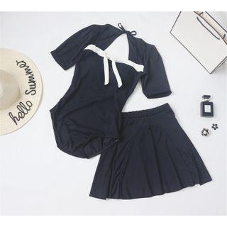 ASUMM - 套装: 短袖配色边泳装 + 裙子