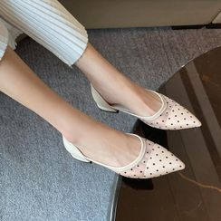 JY Shoes - Low-Heel Dotted Sandals