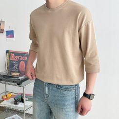 Seoul Homme - 3/4-Sleeve Plain T-Shirt