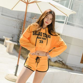 UUZONE - Set: Hooded Letter Print Cropped Pullover + Sweat Shorts