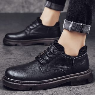 Chaoqi - Faux Leather Lace-Up Loafers