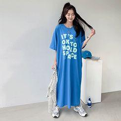 PPGIRL - Letter Print T-Shirt Dress