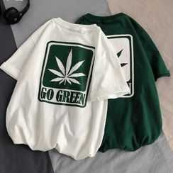 YERGO - Short-Sleeve Leaf Print T-Shirt