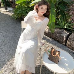 Tanzil(タンジル) - Long-Sleeve Lace Midi Dress