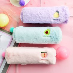 Hekki - Embroidered Fruit Chenille Pencil Case