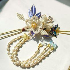 Rivermoon(リバームーン) - Retro Flower Faux Pearl Hair Stick