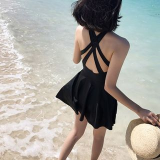 Sabbia - Plain Halter Swimsuit
