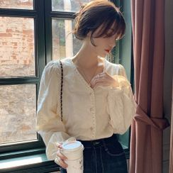Mimikiss - Bell-Sleeve Lace Trim Button-Up Blouse