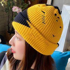 Hats 'n' Tales - Distressed Colour Block Knit Beanie