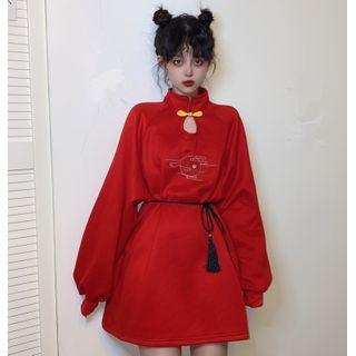 Sisyphi - Lantern-Sleeve Embroidered Mini Qipao Dress