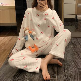 Whoosh - Pajama Set: Long-Sleeve Cherry Print Top + Pants