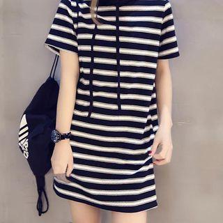 JOWI - 条纹连帽短袖T裇连衣裙