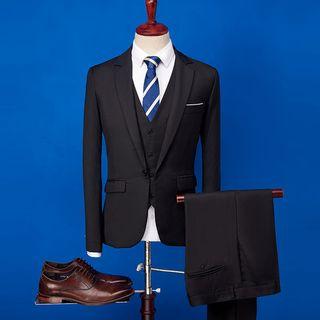 YIKES(ヤイクス) - Set: Plain Blazer + Vest + Dress Pants