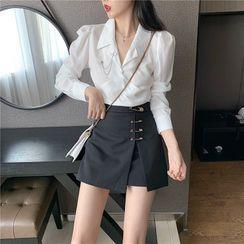 Phyllis - V-Neck Blouse / Pin Detail Mini A-Line Skirt