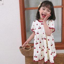 BobaBop - 儿童樱桃短袖A字连衣裙