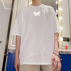 CHIC ERRO  - Short-Sleeve Reflective Butterfly Print T-Shirt
