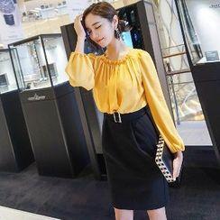 Dabuwawa - Long-Sleeve Trim Mock Two-Piece Dress