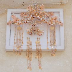 la Himi - 套装: 婚礼仿珍珠树枝皇冠 + 发簪 + 耳坠
