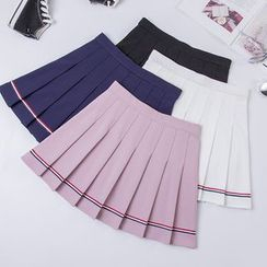 Carina - Striped Pleated Skirt