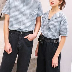 Ichiban Wear  - Couple Matching  Short-Sleeve Plaid Shirt / Harem Pants / Belt Bag / Set