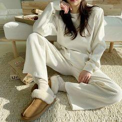 NANING9 - Ribbed Velvet Loungewear Sweatshirt