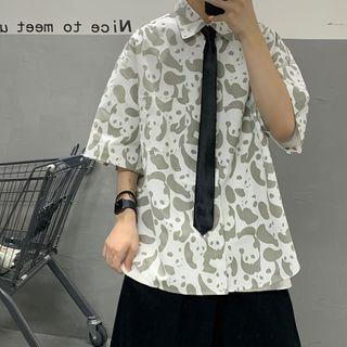 8th Sense - Elbow-Sleeve Loose-Fit Panda Printed Shirt