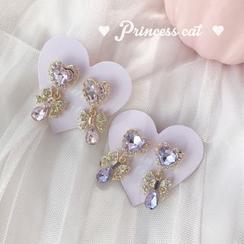 Princess Cat  - Princess Cat 少女蝴蝶结+蕾丝爱心 粉色/紫色钻 耳夹/925银耳环