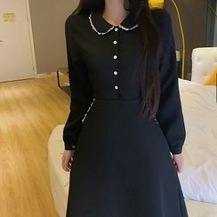 Essere - Long-Sleeve Midi A-line Dress