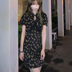 Amardeep - Short-Sleeve Floral Print Mini Qipao Dress