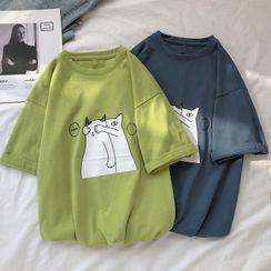 Mudian - Short-Sleeve Cat Printed T-Shirt