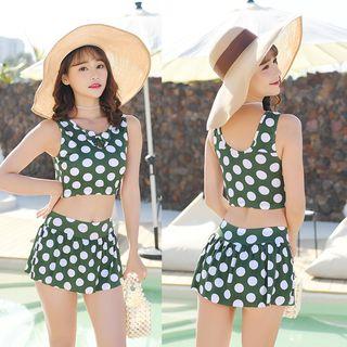 Bruschetta - Set: Polka Dot Tankini Top + Swim Skirt