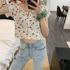 Piwonia - Floral Print Short-Sleeve Cropped Top